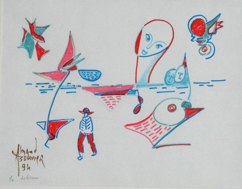 Armand BOUVIER - Dessin-Aquarelle - Composition