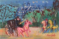 Jean DUFY - Painting - Calèche et cavaliers