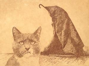 Vladimir KOLESNIKOV - Painting - From the series  «Museum Cats»