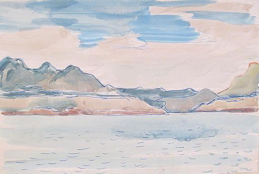 Paul MECHLEN - Drawing-Watercolor - Bergige Küstenlandschaft am Meer.