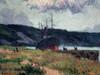 Narcisse HÉNOCQUE - Pintura - Bateau à l'arrêt en aval de Rouen