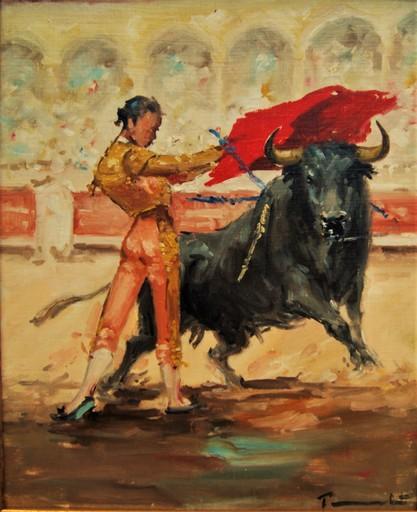 José PUENTE - Pintura - Corrida, scène de tauromachie des années 50