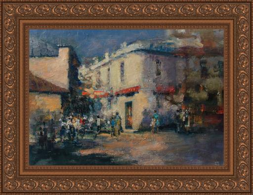 Levan URUSHADZE - Gemälde - Sunny morning at the corner of the street
