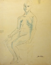 Jean DUFY - Drawing-Watercolor - Nude on a chair / Femme nue sur une chaise
