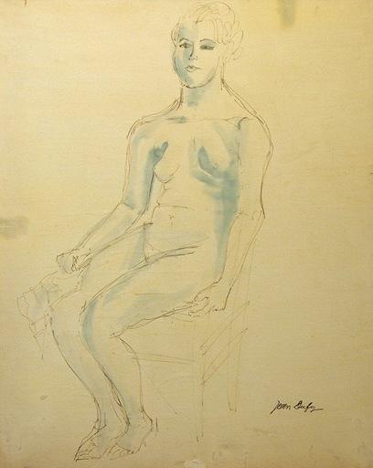 Jean DUFY - Dibujo Acuarela - Nude on a chair / Femme nue sur une chaise
