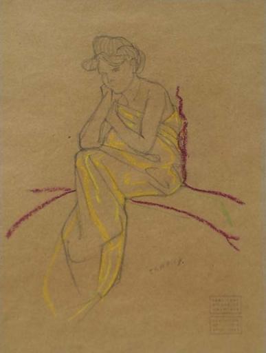 "Hans STROHOFER - Disegno Acquarello - ""Woman Study"" by Hans Strohofer"