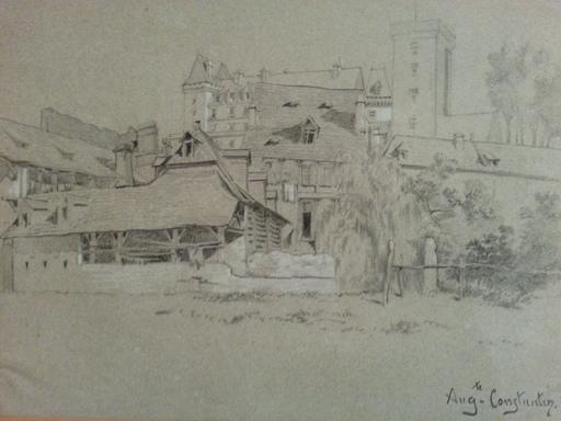 Auguste Aristide F. CONSTANTIN - Dessin-Aquarelle - Chateau en Normandie