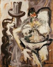 Bernard DAMIANO - Pintura - Peintre et modele, 1960
