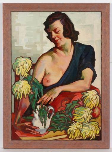 "Josef LACINA - Pintura - ""Artist's wife"" oil painting, 1950s"