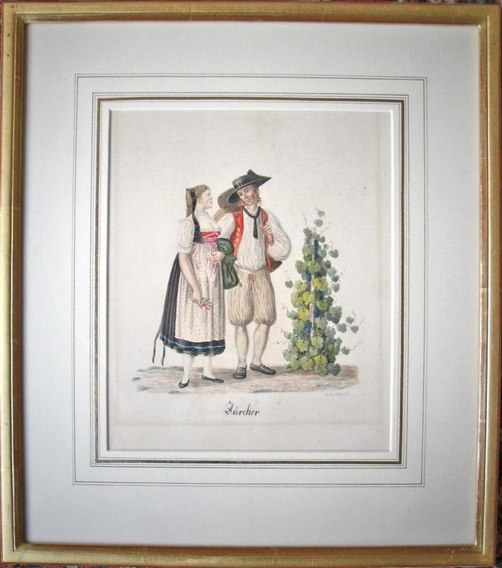 David Alois SCHMID - Dibujo Acuarela - Costumes de Zürich