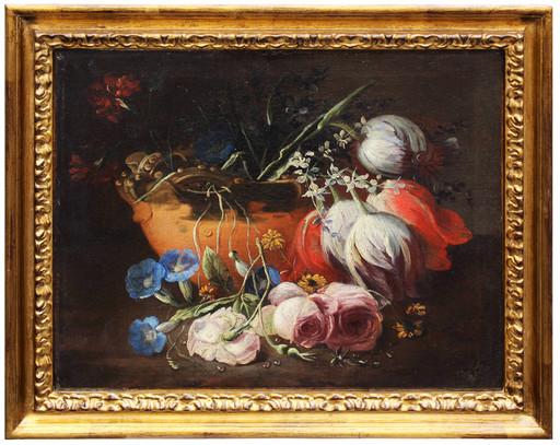 Tommaso Masillo REALFONSO - Painting - Natura morta con rose e tulipani in un'urna di terracotta