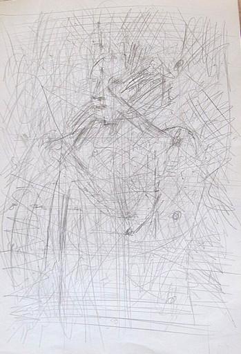 Karl KLUTH - Dibujo Acuarela - Abstrakt: Liniengeflecht über Gesicht