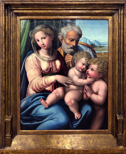 INNOCENZO DA IMOLA - Painting - The Holy Family with Saint John the Baptist