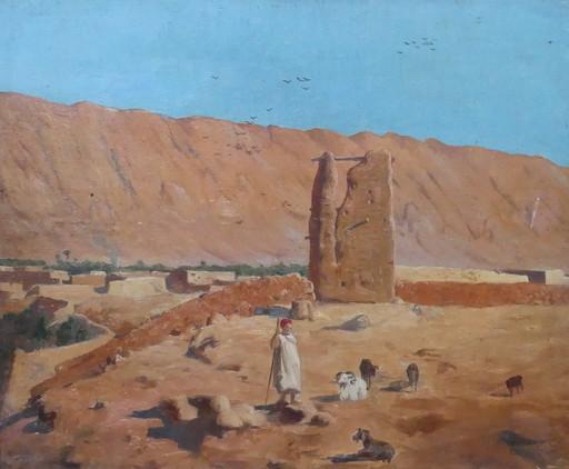 René Charles Edmond HIS - Peinture - Village noir, El Kantara