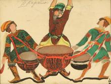 """Nicolaj Konstantinov ROERICH (1874-1947) - Costume design for Rimsky-Korsakov's opera """"The Tale of Tsar"""