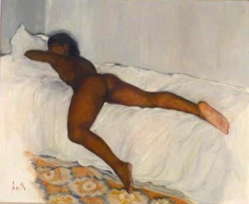 Jacques FAVRE DE THIERRENS - Painting - nu allongé