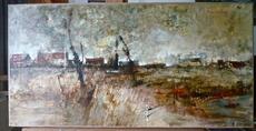 Michel DE GALLARD - Peinture - Paysage avec maisons