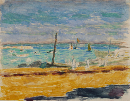 Pierre BONNARD - Disegno Acquarello - Marine dans un port du Midi