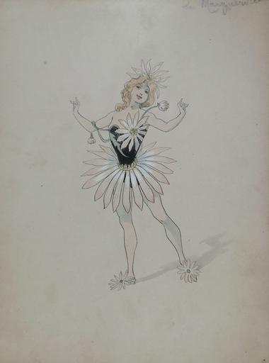 Alfred CHOUBRAC - Drawing-Watercolor - Le Nenuphar - La Marguerite - L'Iris - La Violette