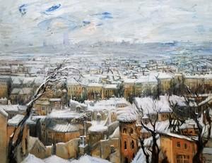 Gilbert PECOUD - Pintura - Tempête de neige