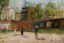 Maurice UTRILLO - Painting - Le moulin de la Galette à Montmartre