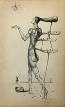 Salvador DALI - Dessin-Aquarelle - Untitled