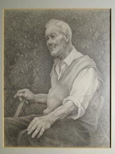 A.M PARKIN - Dibujo Acuarela - Mr. Chown in his Garden