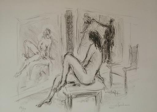 Charles GADENNE - Grabado - Nue au miroir
