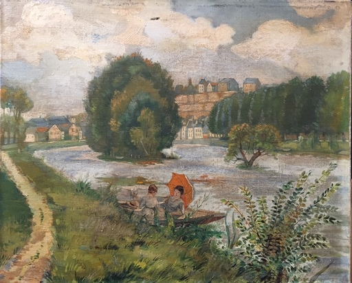 Mark William LANGLOIS - Painting - au bord de la riviere