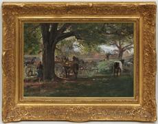 Édouard CASTRES - Painting - Rassemblement Paysan