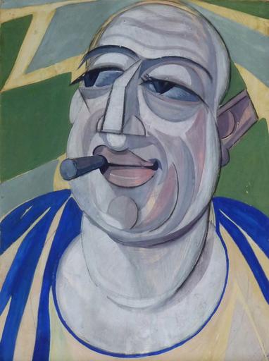 Hugo SCHEIBER - Painting - Self Portrait with Cigar