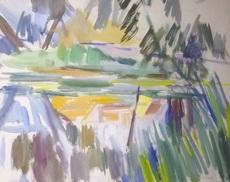 Lisl ENGELS CECH - Drawing-Watercolor - Leopoldsteiner Weiher