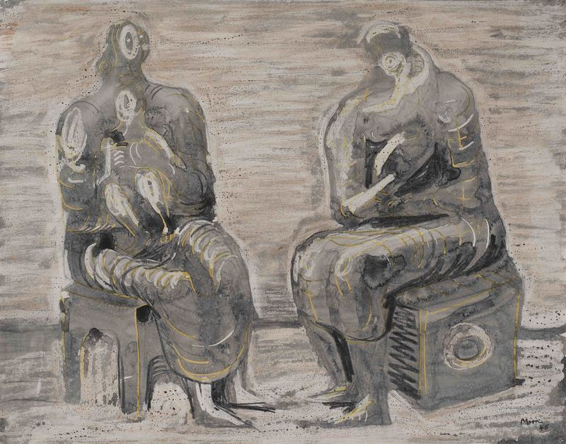 Henry MOORE - Gemälde - Two women and children