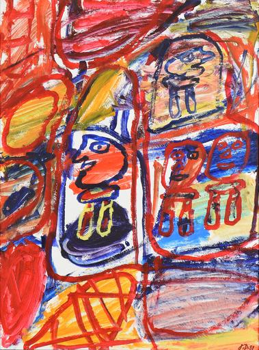 Jean DUBUFFET - Painting - Site Avec 4 Personnages
