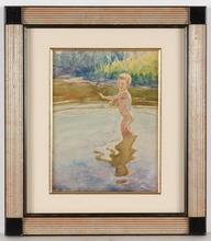 """Boris Eremeievich VLADIRMIRSKY - Dibujo Acuarela - """"Bathing Child"""" by Boris Vladimirsky, Watercolor"""