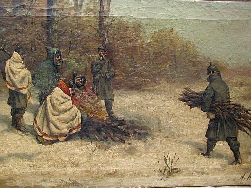 H. A. KLEIN - Peinture - Preussische Soldaten im Schnee.