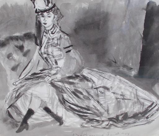Louis BERTHOMMÉ-SAINT-ANDRÉ - Dibujo Acuarela - L'élégante