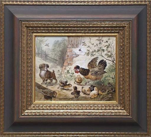 """Robert ERBE - Pittura - """"Unbidden Guest"""" by Robert Erbe (1844-1903), Watercolour"""