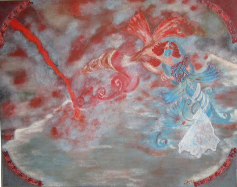 ATCHAMA - Painting - l'eau et le feu