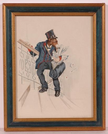 "Ernst HOCHSCHARTNER - Drawing-Watercolor - ""Dog as a Postman"", Watercolor"