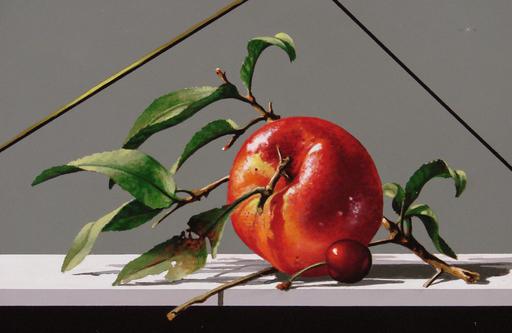 GERICO - Painting - Natura in posa (mela rossa e ciliegia)