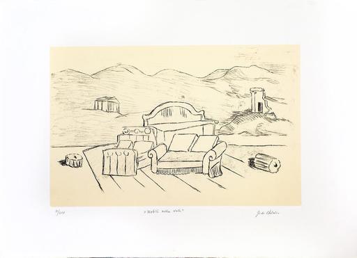 Giorgio DE CHIRICO - Grabado - Mobili nella valle, 1971
