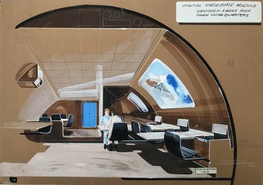 Raymond LOEWY - Disegno Acquarello - Orbital Space Module