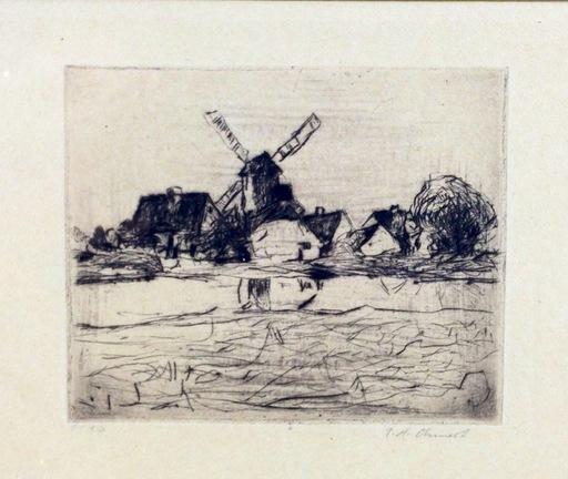 Paul Hans OHMERT - Druckgrafik-Multiple - Landscape with Windmill