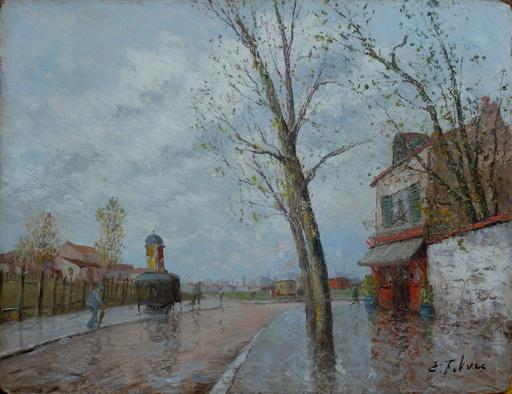 Edouard FEBVRE - Pintura - Paysage de banlieue à la vespasienne