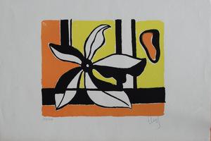 Fernand LÉGER, Fleur sur un Fond Jaune et Orange
