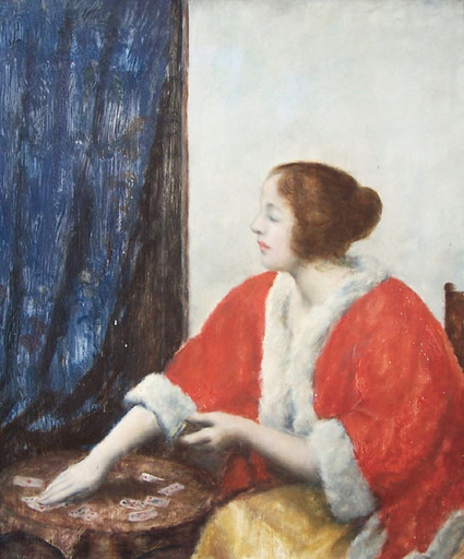 István CSOK - 绘画 - Portrait of a Girl Playing Cards