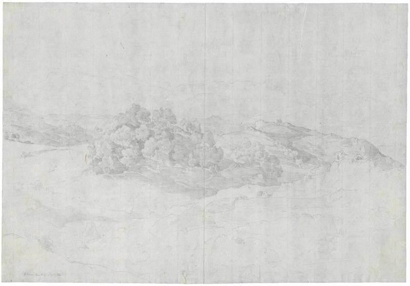Heinrich Carl REINHOLD - Drawing-Watercolor - Olevano; Hügellandschaft mit Baumbewuchs in der Serpentara.