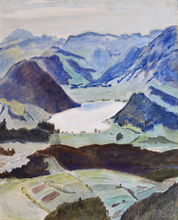 Erich HECKEL - Dibujo Acuarela - Lake between Mountains, Kärnte
