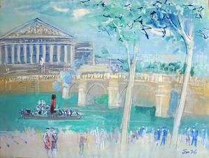 Jean DUFY - Dibujo Acuarela - Bords de Seine au pont de la Concorde